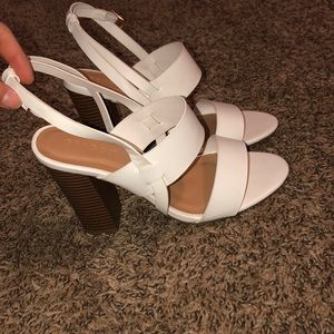 Bamboo White high heels with brown heels!